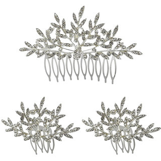 JewelMaze Austrian Stone Silver Plated Hair Brooch -1502049A