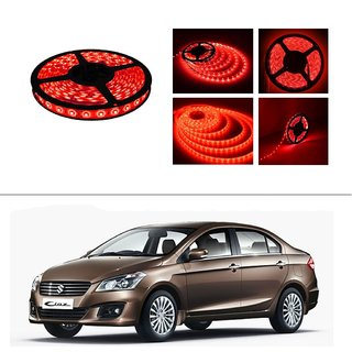 AutoStark 5 Meters Waterproof Cuttable LED Lights Strip Roll-Red- Maruti Suzuki Ciaz
