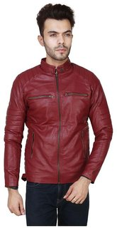 Casual Pu Leather Jacket For Men  Boys in Maroon colour