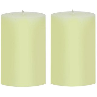 Light Jewels Ivory Paraffin Wax Pillars Candles (Pack of 2, Size- 3 x 4 inch)