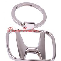 Honda Heavy Metal Alloy Chrome Key Chain Ring Car City Civic Amaze Brio Accord