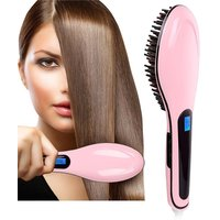 Fast Hair Straightener - Hair Comb Brush With Temperature Control  LCD Display