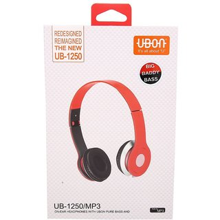 UBON UB-1250 MP3 On Ear Headphone With ubon Pure Bass For All Smart Phones And Laptop Color may vary