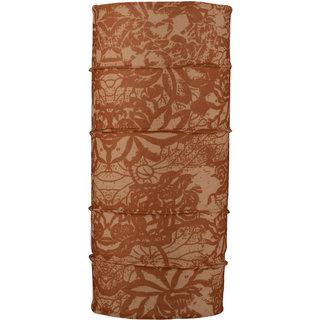 Autofy Unisex Wild Flower Print Lycra Headwrap Bandana for Bikes (Brown and Cream Freesize)
