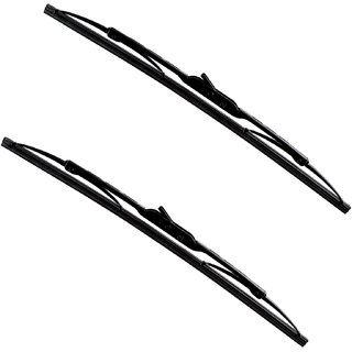 Autofy Metal Frame Wiper Blades for Tata Indigo 24' Inch (Driver,Right) / 17' Inch (Left) All Models (Set of 2,Black)