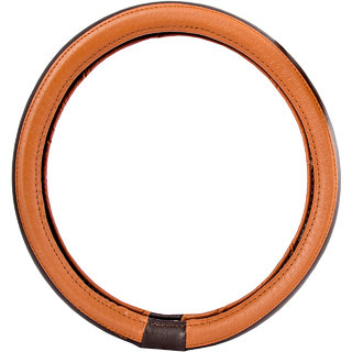 Autofy Leather Steering Wheel Cover / Grip for Nissan Micra (Tan M)