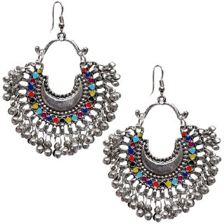 Lucky Jewellery Trendy Multicolor Oxidised Plating Afghani Earring For Girls  Women