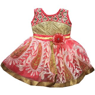 c6c31f35a50e Buy Pack of Two Classic Pink   Red Bhoomi Cute Kids Net Frocks for ...