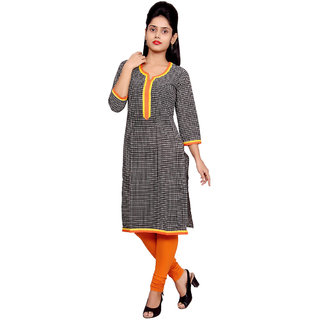 Alobha Black Solid Cotton Kurti