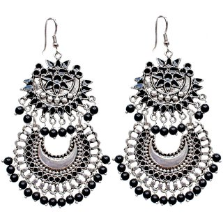 Lucky Jewellery Trendy Black Silver Oxidised Plating Afghani Earring For S Women