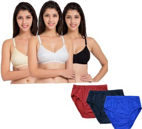 Lady silk multi color seamless bra and panties set pack of 3 ( rbs + rbb )