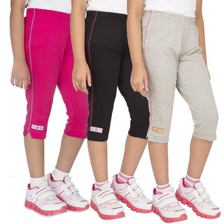 OCEAN RACE Girl's Stylish  Cotton Capris(3/4 th Pant)-Pack of 3