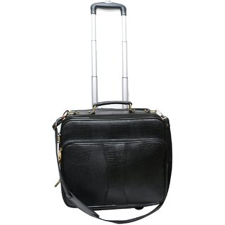 Comfort 17 inch Pure Leather Trolley Bag for men and women EL401