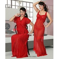 157B Hot Sleep Wear 3pc Nighty Panty  Robe Sheer Babydoll Set  Red Night Dress