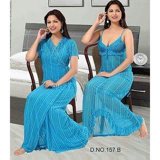 157B Hot Sleep Wear 3p Nighty Panty  Robe Sheer Babydoll Blue Dress