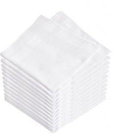 luxmi Enterprises White Polycotton Formal Handkerchief Pack of 12