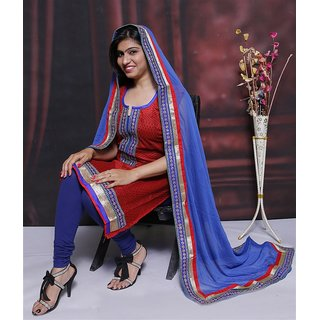Chanderi with beautiful neck dress material (Unstitched)