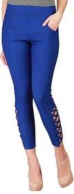 Teyana Women's Blue Cotton Jeggings
