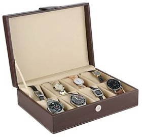Watch Box, Ayesha Leather Works High quality Faux leather 8 pillows Brown watch Box, Watch organizar, gift item