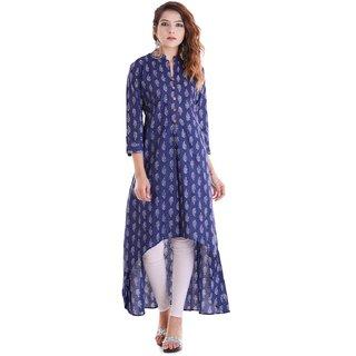 Meia Blue Printed Cotton Stitched Kurti