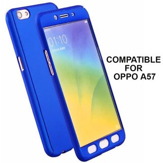 MOBIMON 360 Degree Full Body Protection Front Back Case Cover (iPaky Style) with Tempered Glass for Oppo A57 (Blue)