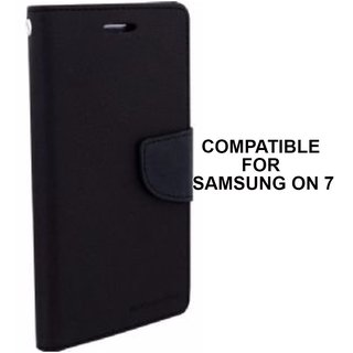 Mobimon Luxury Mercury Magnetic Lock Diary Wallet Style Flip Cover Case for Samsung Galaxy On7 Pro and On7 (Black)