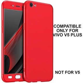 MOBIMON 360 Degree Full Body Protection Front Back Case Cover (iPaky Style) with Tempered Glass for VIVO V5 Plus (Red)