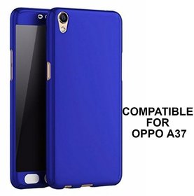 MOBIMON 360 Degree Full Body Protection Front  Back Case Cover (iPaky Style) with Tempered Glass for Oppo A37 (Blue)