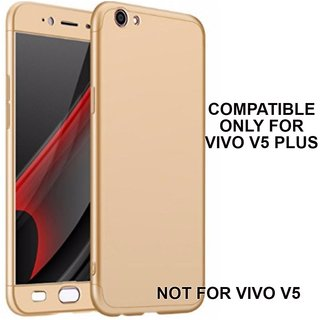 360 Degree Full Body Protection Front Back Case Cover (iPaky Style) with Tempered Glass for VIVO V5 Plus - Gold