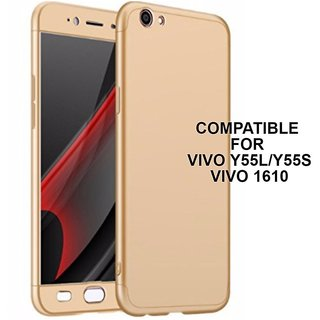 MOBIMON 360 Degree Full Body Protection Front Back Case Cover (iPaky Style) with Tempered Glass for VIVO V5 Plus (Gold)