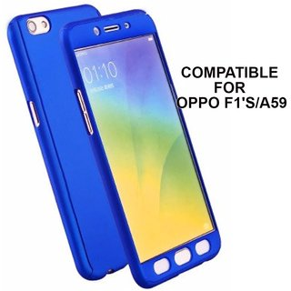MOBIMON 360 Degree Full Body Protection Front Back Case Cover (iPaky Style) with Tempered Glass for Oppo F1S - Blue
