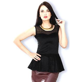 989e812d109324 Buy Aashish Fabrics - Black Sleeveless Peplum Velvet Top Online ...