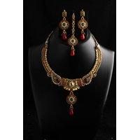 Soojewelish Polki Necklace With Charming Earrings & Maang Tikka-(vgnl 1012)