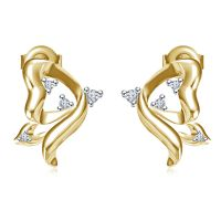 Vorra Fashion 925 Sterling Silver 24K Gold Plated CZ Flying Butterfly Earrings