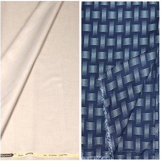Kundan Sulz Gwalior Men's Executive Blue Print Shirt & Fancy Soft & Fancy Beige Color Trouser Fabric Combo Set ( 1 Pant Shirt Piece for Men )