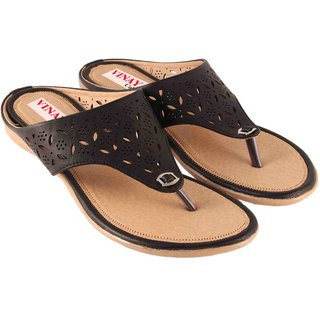 Vinayak Collection Womens Black Kolhapuri Slipper Flats