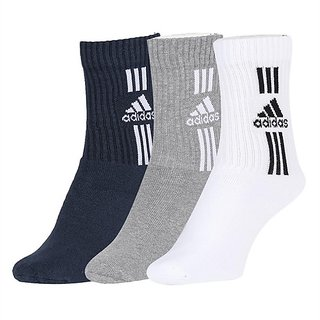 Adidas Men's Grey/White/Black Cotton, Nylon and Polyester Flat Knit Ankle Socks Pack of 3 - Free Size