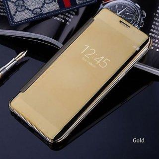 Samsung Galaxy J7 (2016) Luxury Clear View Mirror Smart View Case Flip Cover For Samsung Galaxy J7 (2016) - (Golden)