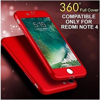 MOBIMON 360 Degree Full Body Protection Front Back Case Cover (iPaky Style) with Tempered Glass for RedMi Note 4 (Red)