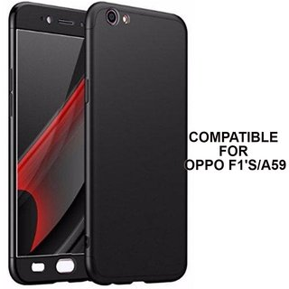 MOBIMON 360 Degree Full Body Protection Front Back Case Cover (iPaky Style) with Tempered Glass for Oppo F1S - Black