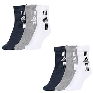 Adidas Mens Womens Crew Length Socks - 6 Pairs