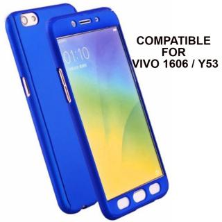Brand Fuson 360 Degree Full Body Protection Front Back Case Cover (iPaky Style) with Tempered Glass for VIVO Y53 (Blue)