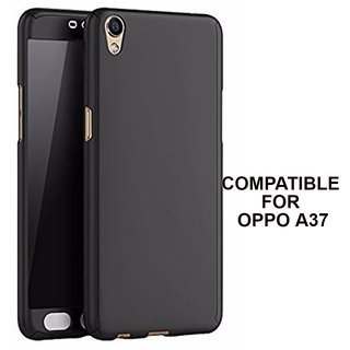 Brand Fuson 360 Degree Full Body Protection Front Back Case Cover (iPaky Style) with Tempered Glass for Oppo A37 (Black)