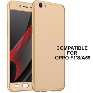 BRAND FUSON 360 Degree Full Body Protection Front Back Cover (iPaky Style) with Tempered Glass for Oppo F1S/A59 (Gold)