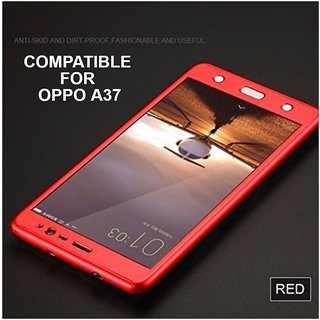Brand Fuson 360 Degree Full Body Protection Front Back Case Cover (iPaky Style) with Tempered Glass for Oppo A37 (Red)