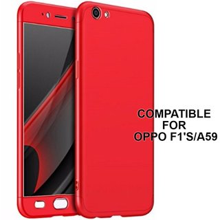 BRAND FUSON 360 Degree Full Body Protection Front Back Cover (iPaky Style) with Tempered Glass for Oppo F1S/A59 (Red)