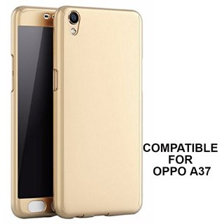 Brand Fuson 360 Degree Full Body Protection Front  Back Case Cover (iPaky Style) with Tempered Glass for Oppo A37 (Gold)