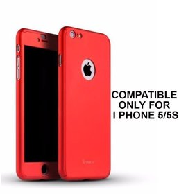 Brand Fuson 360 Degree Full Body Protection Front Back Case Cover (iPaky Style) with Tempered Glass for IPhone 5 (Red)
