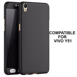 360 Degree Full Body Protection Front Back Case Cover (iPaky Style) with Tempered Glass for VIVO Y51 (Black)