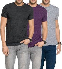 Zorchee Men's Round Neck Half Sleeve Cotton Plain T-Shirts (Pack of 3) - Charcoal Melange, Grape Royal  Grey MelangeSmall